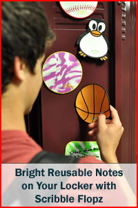 Bright reusable notes on your locker with Scribble Flopz